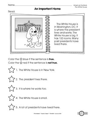 worksheet reading about the white house american symbols pinterest white houses. Black Bedroom Furniture Sets. Home Design Ideas
