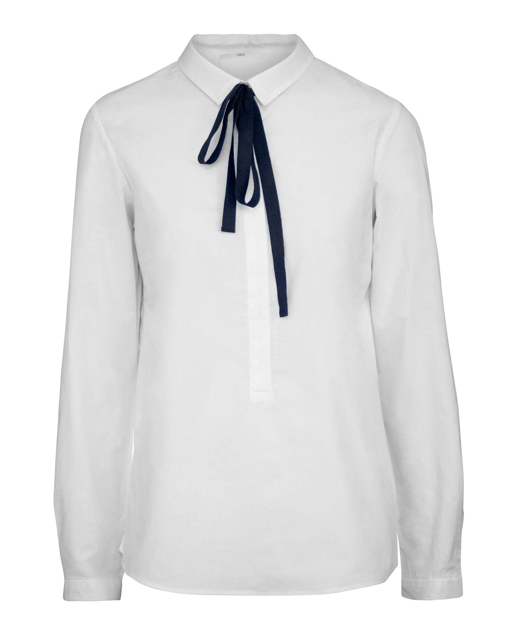 weiße bluse schwarze schleife