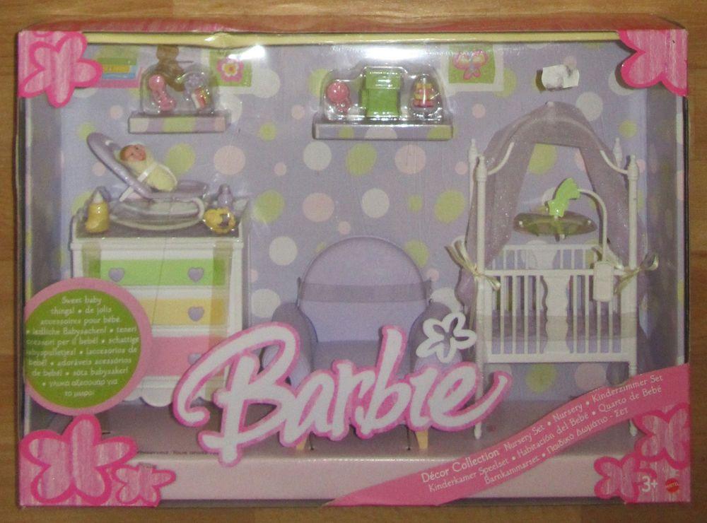 Barbie kinderzimmer babyzimmer set ovp original verpackt lila barbie barbie barbie haus baby - Barbie kinderzimmer ...