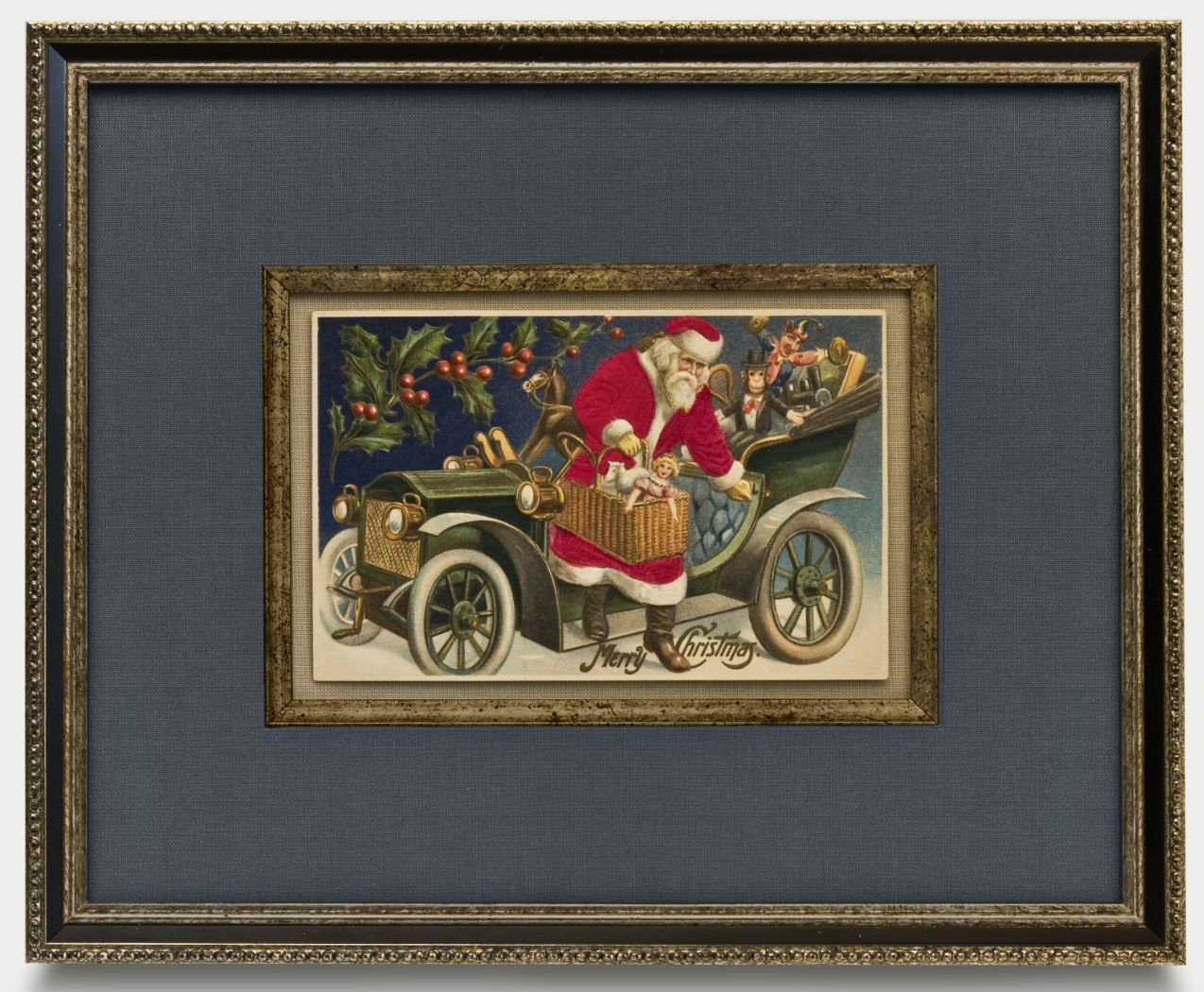 Antique postcards santa claus with his sleight framed to antique postcards santa claus with his sleight framed to conservation standards with jeuxipadfo Choice Image