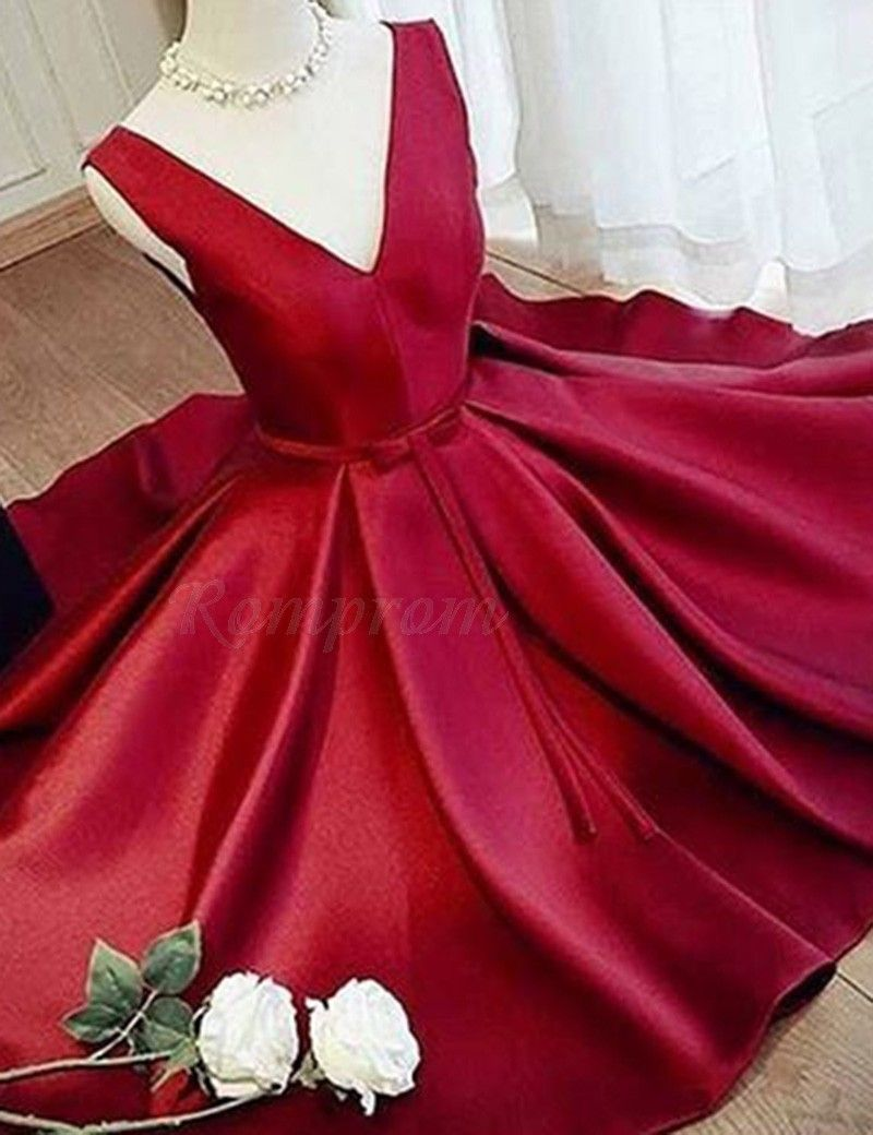Aline vneck short red promhomecoming dress with sash pleats in