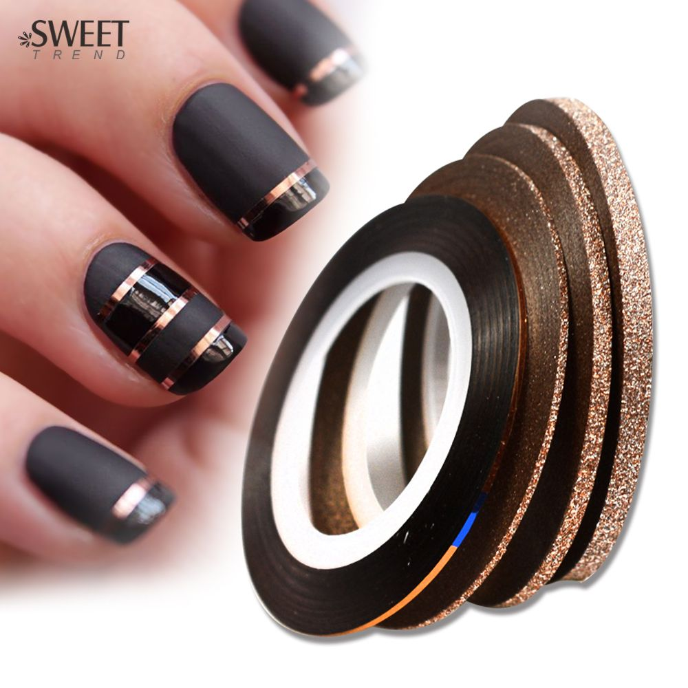 Sweet Trend 4pcs 1 3mm Cinnamon Color Rolls Nail Striping Tape Line