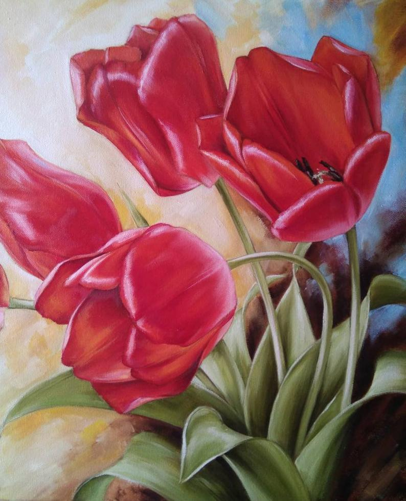 Red tulips Oil painting flowers Oil Painting Tulips Big