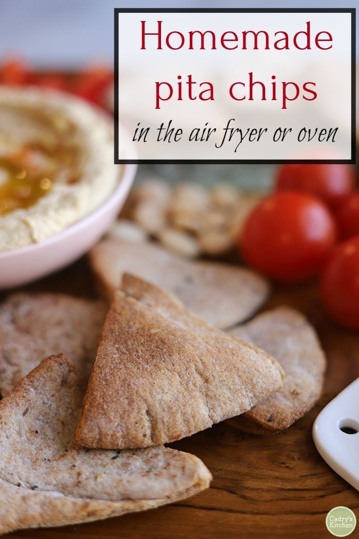 Homemade pita chips - in the air fryer or oven Homemade pita chips are so easy to make in the air fryer or oven. In just minutes, you can have crispy chips – perfect for dunking into hummus or baba ganoush.