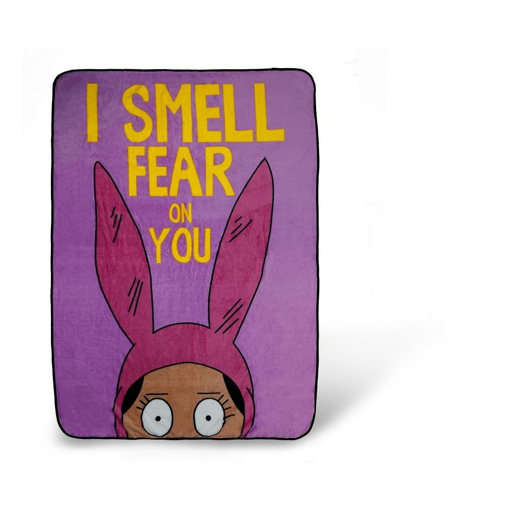 Surreal Entertainment Bob's Burgers Louise Throw Blanket | I Smell Fear On You | 64 x 44 Inches