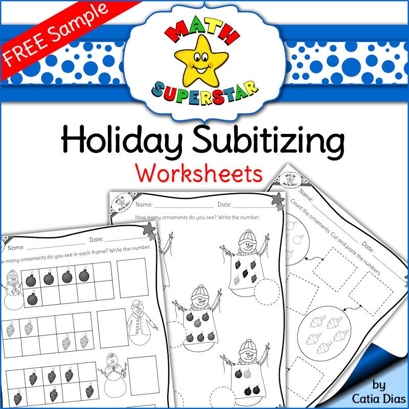 FREE Sample - Subitizing Worksheets. Perfect for Holidays and Winter ...