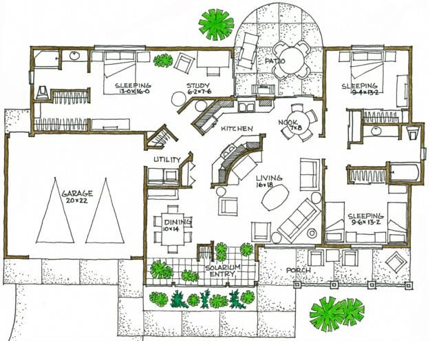 House Plan 192 00029 Green Plan 1 600 Square Feet 3 Bedrooms 2 Bathrooms Passive Solar House Plans Solar House Plans Eco House Design
