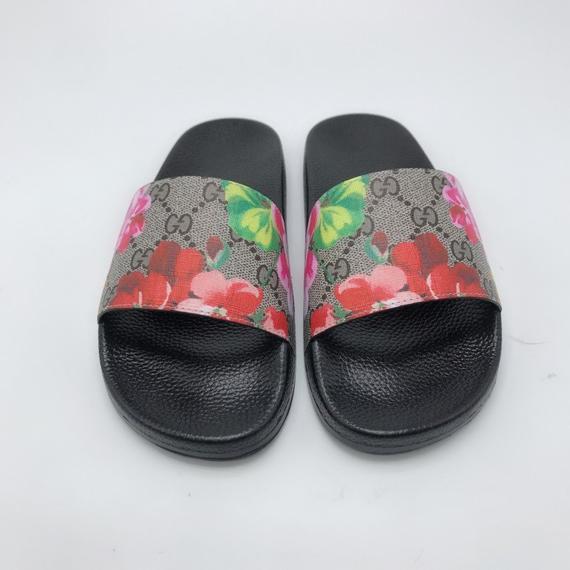 82f048d7b Custom Gucci Hand printed red flowers women/men inspired unisex gucci Slides  - Sandals - Flip Flops.