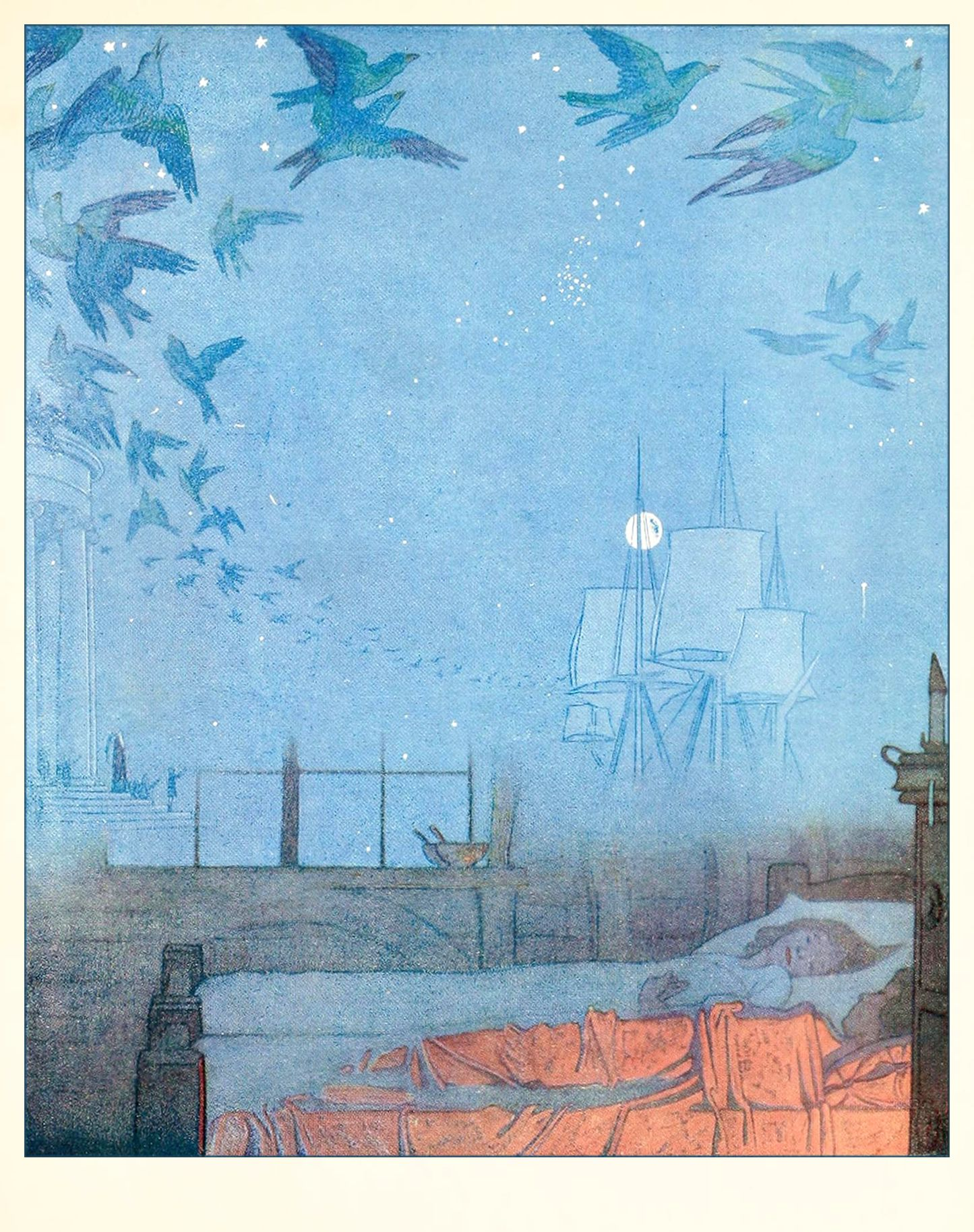1. FRONTISPIECE.  ——      F. Cayley Robinson Illustrations: THE BLUE BIRD by Maurice Maeterlinck.