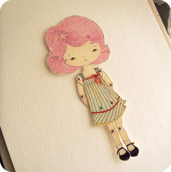 Articulated Paper Doll - Loretta from gingermelon etsy shop