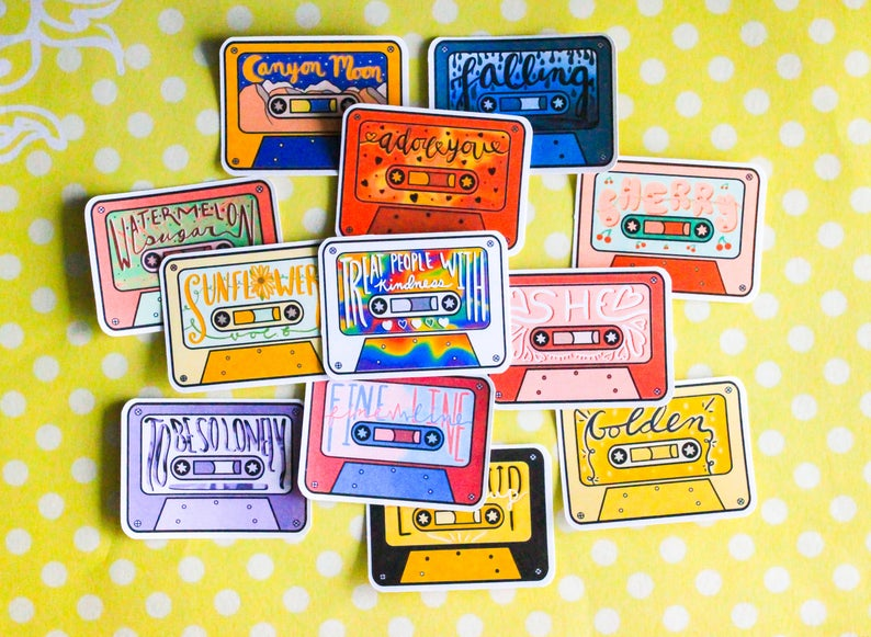 Harry Styles Fine Line Cassette Sticker Pack Etsy Harry Styles Fabric Painting Stickers