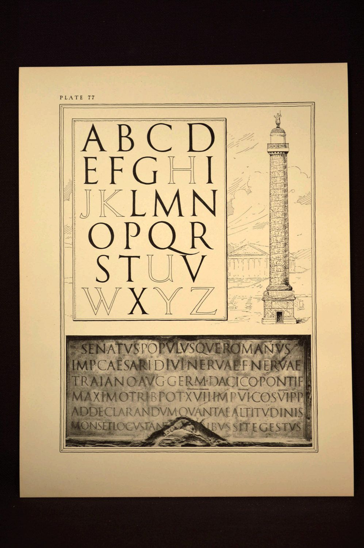 Lettering Print Roman Letters Ephemera Lettering Wall Art Lettering ...