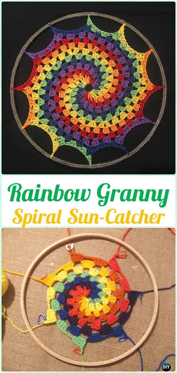 Crochet Rainbow Granny Espiral Sun-Catcher Patrón libre - Crochet ...