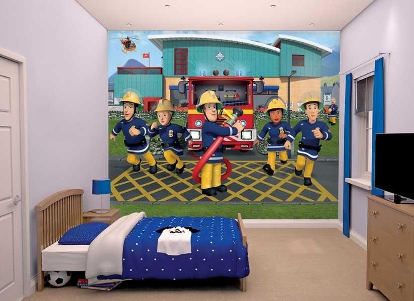 fototapete feuermann sam im einsatz f r kinderzimmer die wantapete besteht aus den helden von. Black Bedroom Furniture Sets. Home Design Ideas