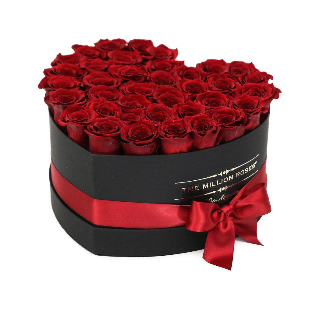 Hand Crafted Luxury Soft Touch Box About 40 Stems Of The Million Eternity Red Long Lasting Preserved Roses Million Roses Black And Red Roses Flower Box Gift