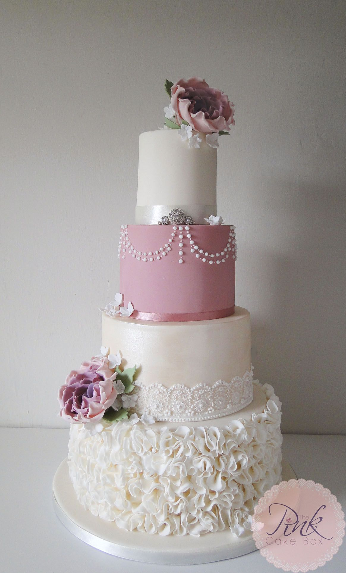 Pink Ruffle Wedding Cake