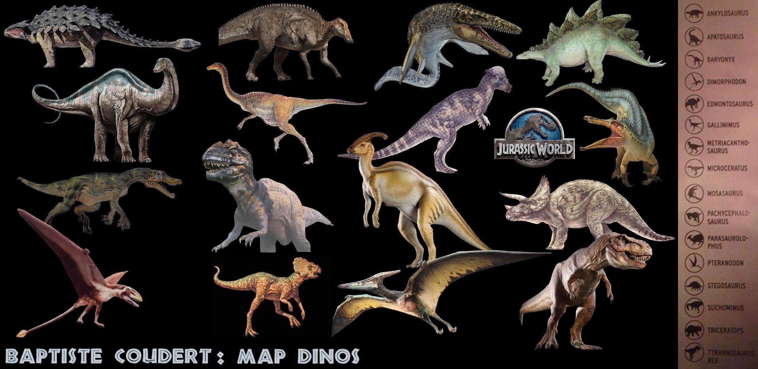 Jurassic World 2015 (Jurassic Park 4) Dinosaurs List According to ...