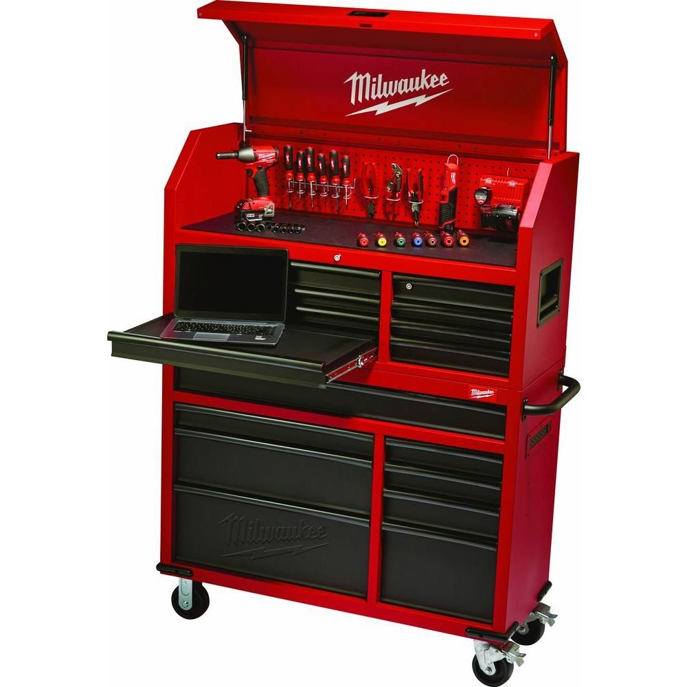 16 Drawer Tool Chest And Rolling Cabinet Set, Red And Black 48 22 8510 20    The Home Depot