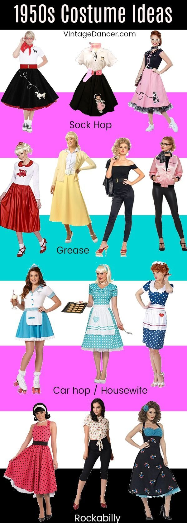 1950s Costume Ideas Sock Hop Poodle Skirts Grease Housewife Car