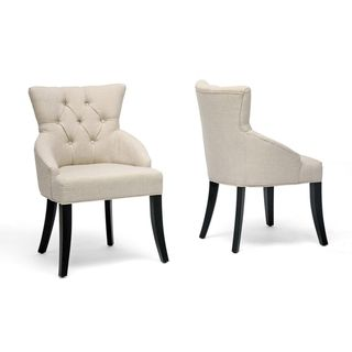 Baxton Studio Halifax Light Beige Dining Chair Set Of 2 Fabric
