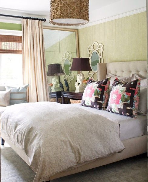 linen on the headboard and bed frame, wool/silk in the carpet