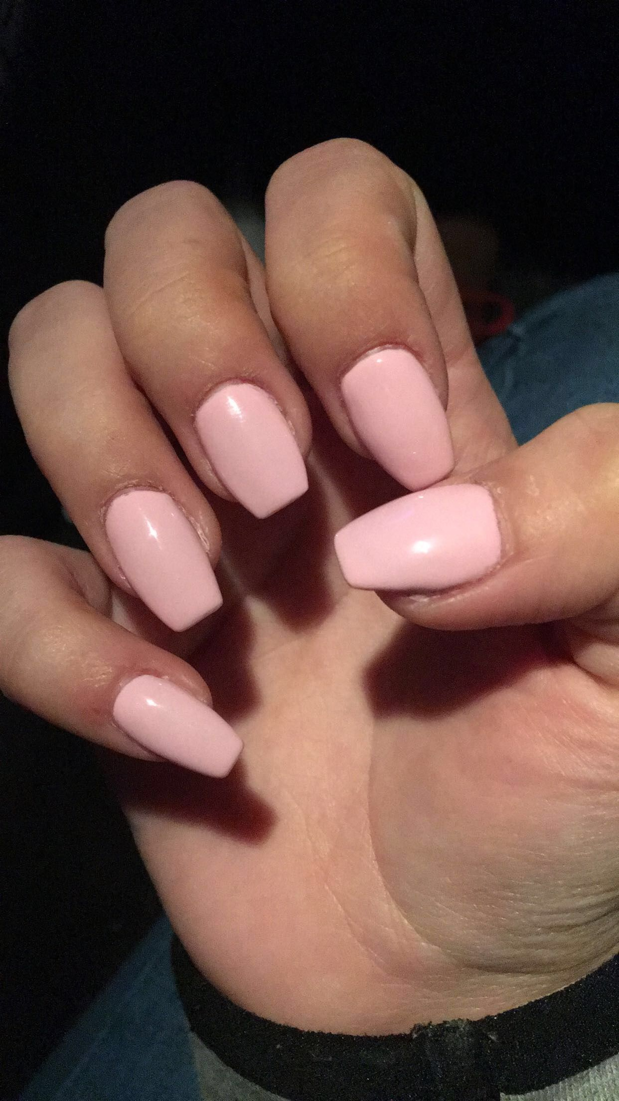 Light Pink Short Coffin Nails AcrylicNailsCoffin in 2019
