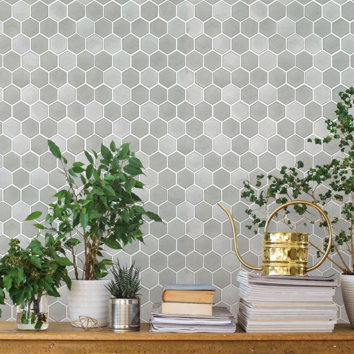 Hexagon Tile Removable Wallpaper Hexagon Tiles Peel And Stick Wallpaper