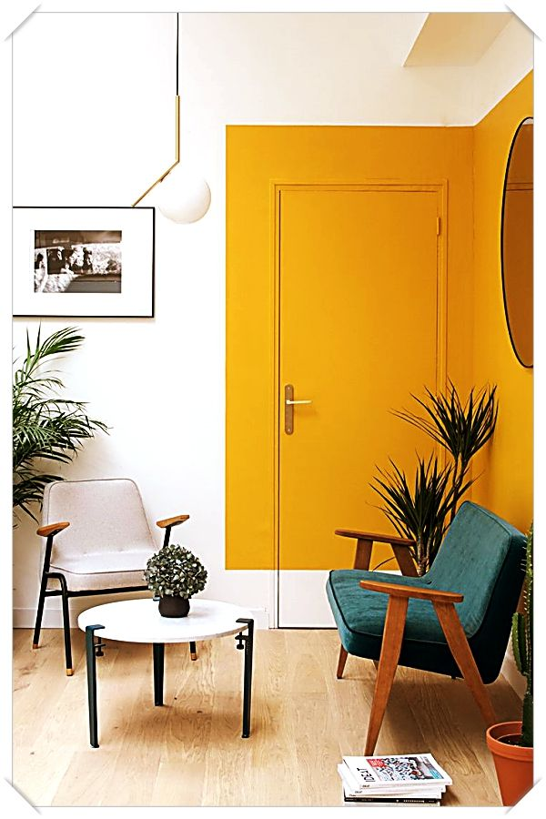 Tour  bright fresh la family home playful spaces for grown ups yellow hallway colour blocking interior colours also rh pinterest