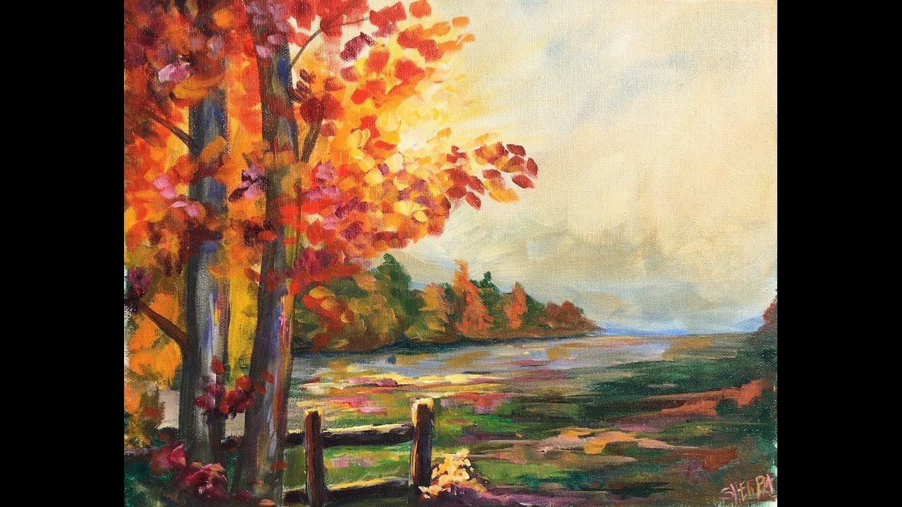 Beginner learn to paint a landscape full acrylic for fall for Fall paintings easy