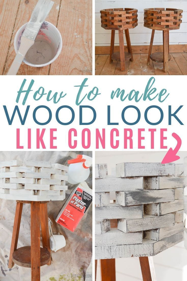 Learn how to paint wood to make it look like concrete. How to get the concrete look for your home for less! My experiment that turned into a maserpiece! Here you'll find the step-by-step process for your own transformation. #woodprojects #homedecor #diypassion