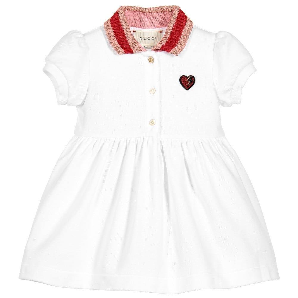 7251caddeb14f2 Gucci Baby Girls White Cotton Dress With Pink Collar  tiddlywinksbens   kidsgucci  guccigirls  kidsfashion  designerbaby