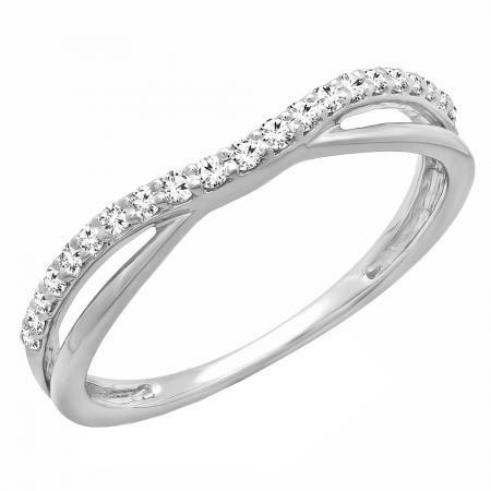 0.40 Carat ctw 10K Gold Round Diamond Ladies Anniversary Wedding Band Swirl Enhancer Guard Double Ring