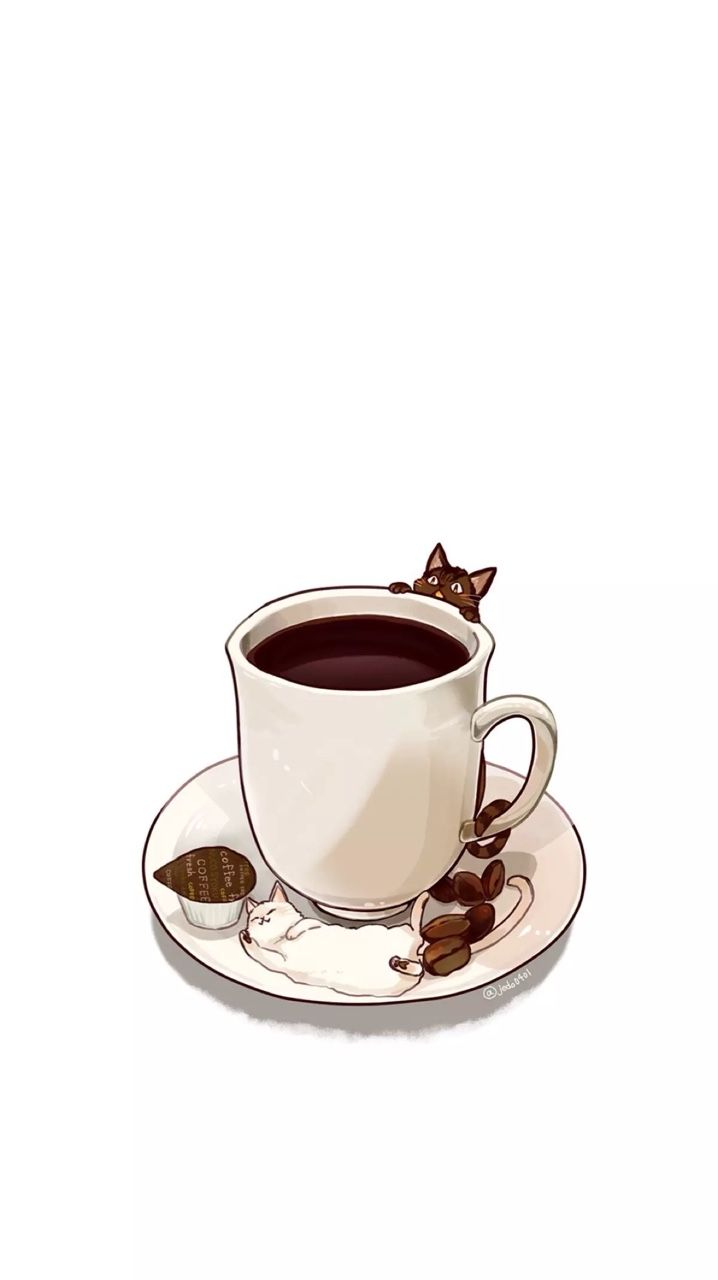 iPhone Wallpapers (Coffee x kitties) Coffee illustration
