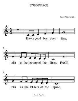 Egbdf Face Treble Clef Notation Song Sheet Music Sheet Music