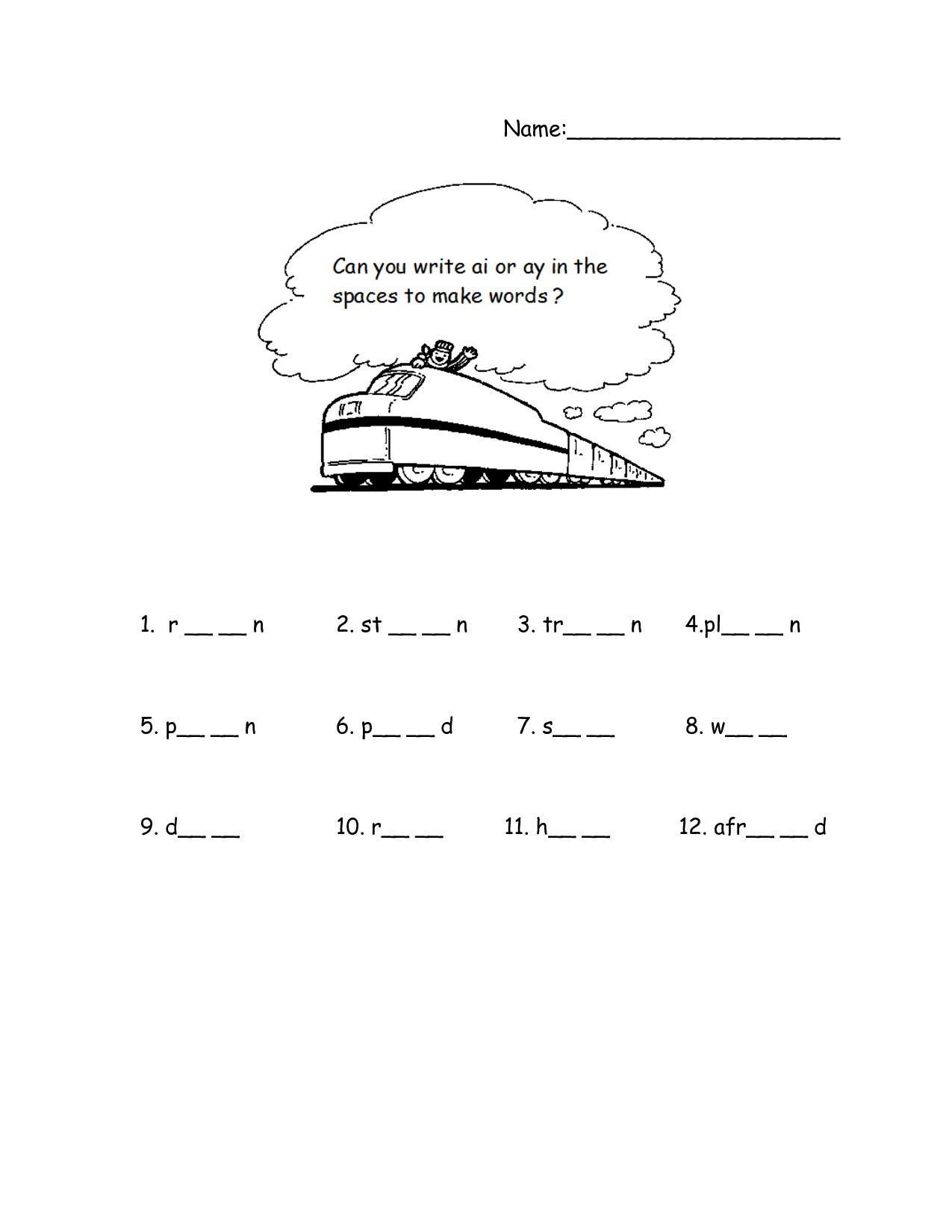 Uncategorized Ai Ay Worksheets ai phonics train worksheet summer camp pinterest worksheet
