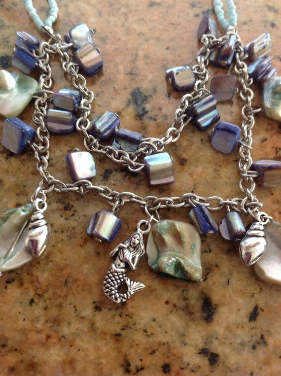 Mermaid & Shell necklace earring set on Etsy, $30.00 use code LiveLaughLove for 70% off
