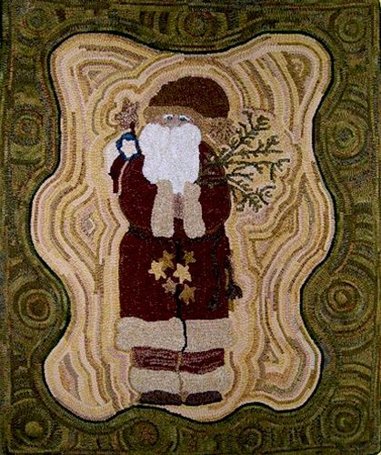 Pinterest Primitive Hooked Rug Wool Santa Lovely Rugs