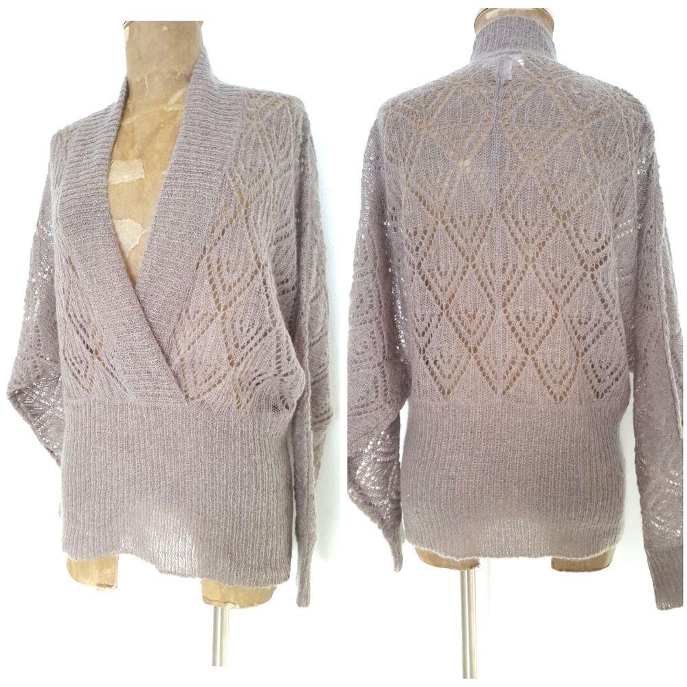 Ann Taylor Loft Sweater Size Large V Neck Crochet Mohair Blend BOHO Top #AnnTaylorLoft #VNeck #Casual