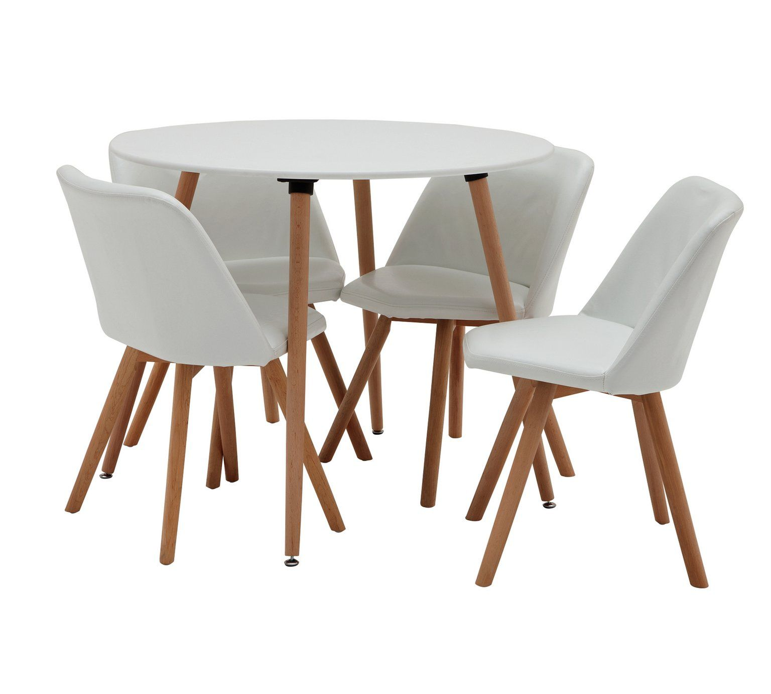Argos Kitchen Bar Table And Chairs: Home Quattro Round Table & 4 Chairs - White