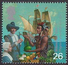 The Settlers' Tale: 17th Century Migration to the Americas - a Royal Mail stamp issued in 1999.