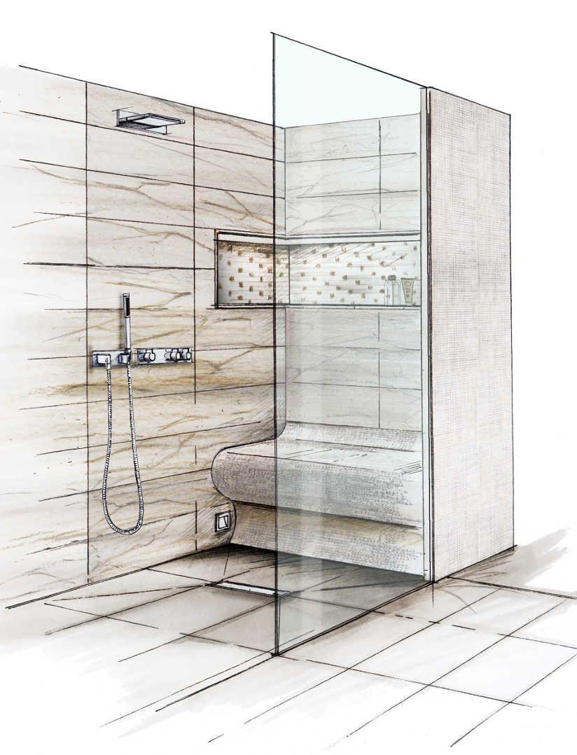 Barrierefreies Bad Skizze Einer Begehbaren Bodenebene Dusche Mit Verfliester Sitzbank Bad Badgestaltung Barrierefrei Bad