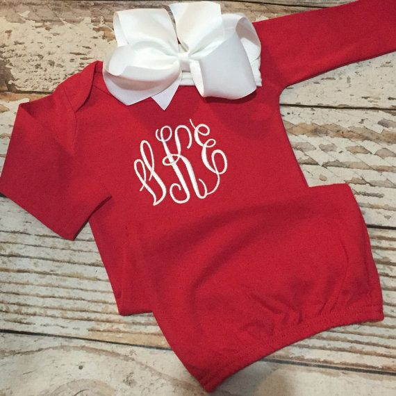 Baby girl Christmas outfit, Monogrammed Christmas gown with headband ...