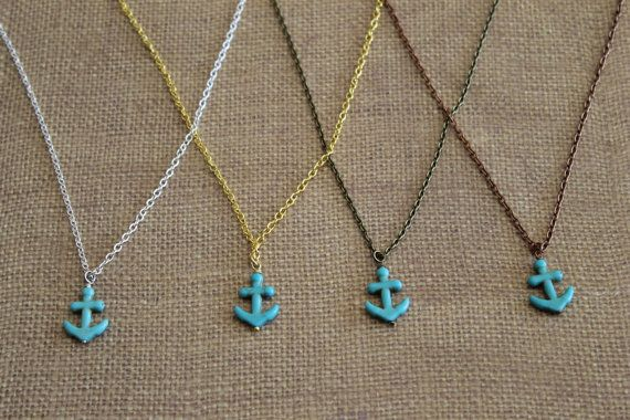 Turquoise Anchor Necklace by elisedesalvo on Etsy