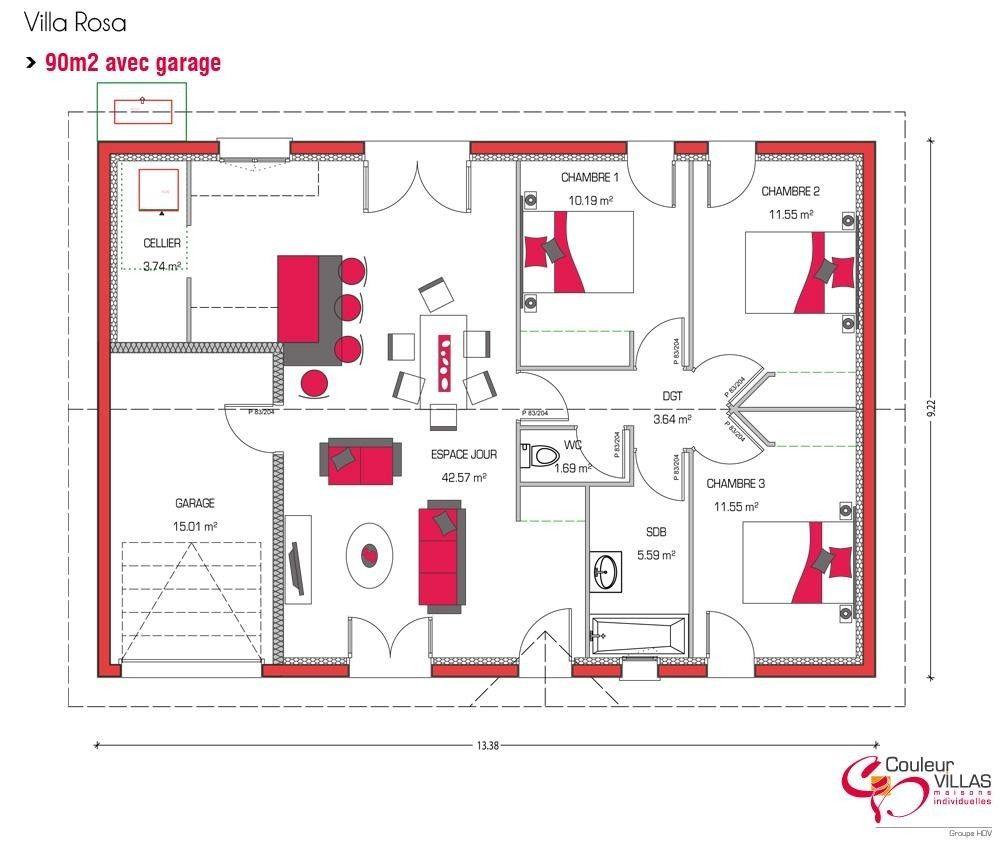 plan maison plein pied 90m2 1