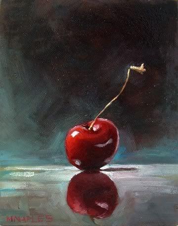 """""""Uma cereja"""" - Pintura a óleo de LR Michael Naples:"""