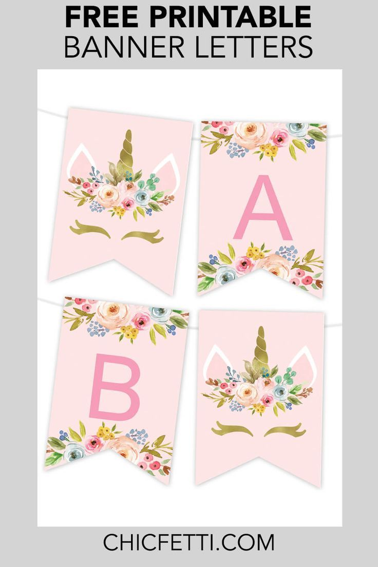 Unicorn Floral Printable Banner is part of Unicorn banner, Unicorn printables, Birthday banner free printable, Unicorn birthday party decorations, Unicorn themed birthday party, Unicorn themed birthday - Download Unicorn Banner Pieces Make your own banners with our free printable banner templates  Just edit the text in the customizer, download the file and print the banner letters! This banner contains the whole alphabet, numbers and special characters  Use this to make a Happy Birthday banner, Congratulations banner and more  How to edit Click in the customizer to customize the text in the file  Click download to download the file  You can download as png format  Banner pieces download 2 banner letter pieces to a sheet  To get the banner letters that you need, just keep editing the letters