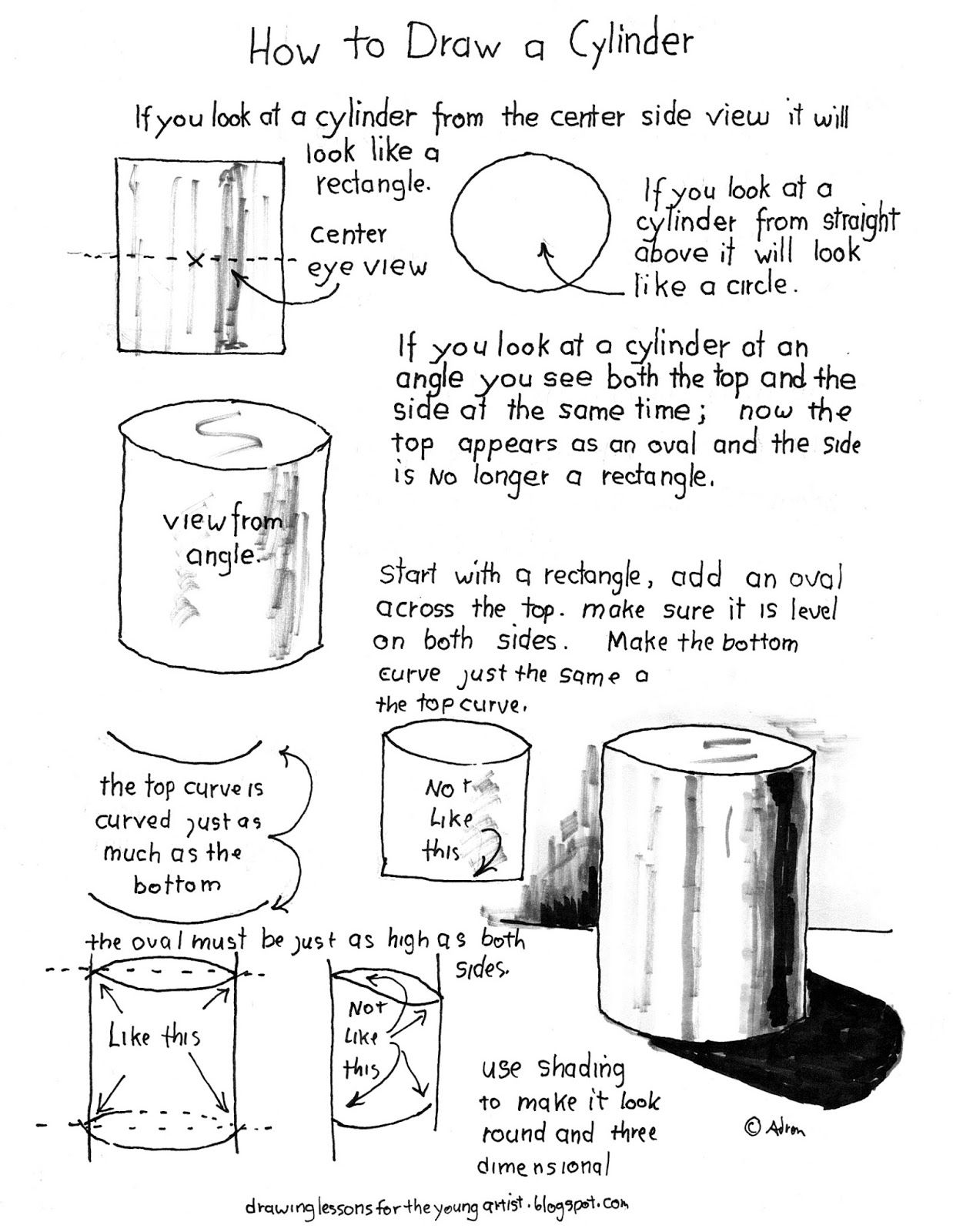 A Simple Printable Lesson On How To Draw A Cylinder With