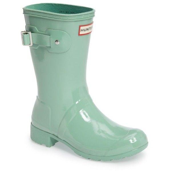 Women's Hunter Original Tour Short Gloss Packable Rain Boot ($140) ❤ liked  on Polyvore · Short Rain BootsHunter ...