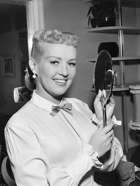 Betty Grable in her dressing room