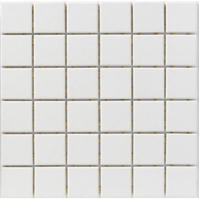 Ceramic Tile Color Collection Snow White 12 In X 6 Mm Unglazed Porcelain Mosaic Floor And Wall Sq